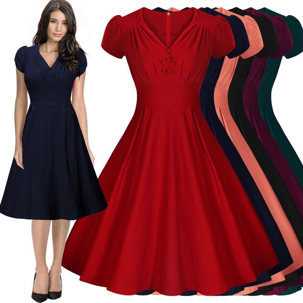 Damen 50er 60er Business Kleider Petticoat Partykleid Ballkleid Abendkleid  36-44 0edf052ae2