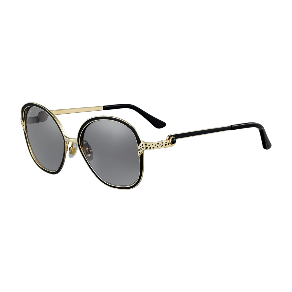 102a35a9f15 Panthère de Cartier Sunglasses - Black lacquer and smooth golden champagne  finish metal