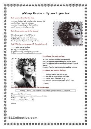 Song-Whitney Huston-My loveis your love.