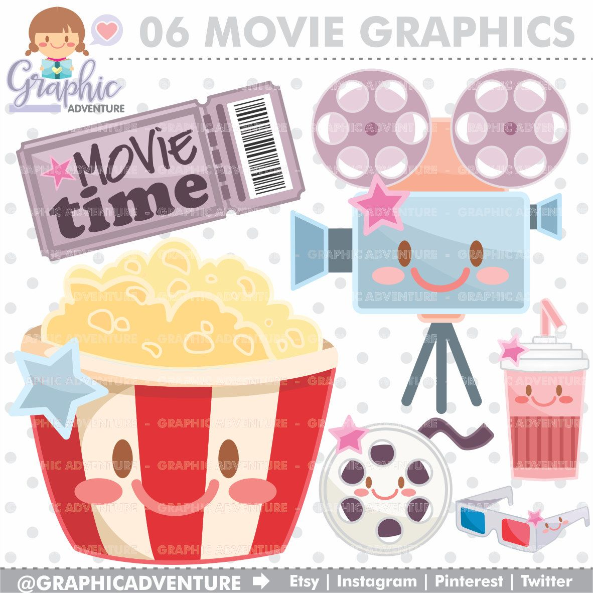 Movie Clipart Graphics COMMERCIAL USE Kawaii Cinema Planner