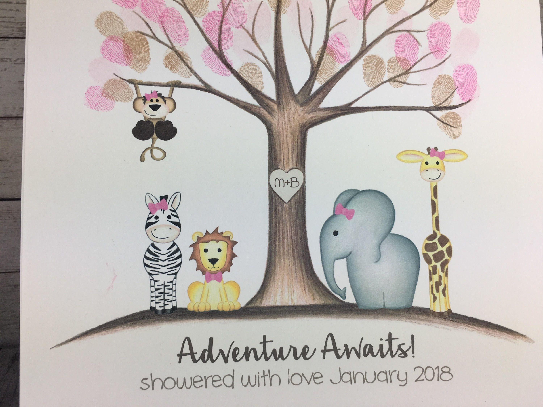 Girls Jungle Baby Shower Fingerprint Tree Guestbook Jungle Safari