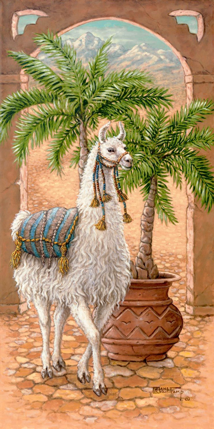 White Llama 1, a painting of a white llama standing in a royal courtyard next to a potted palm, one of Janet Kruskamp's Original Oils, , by...