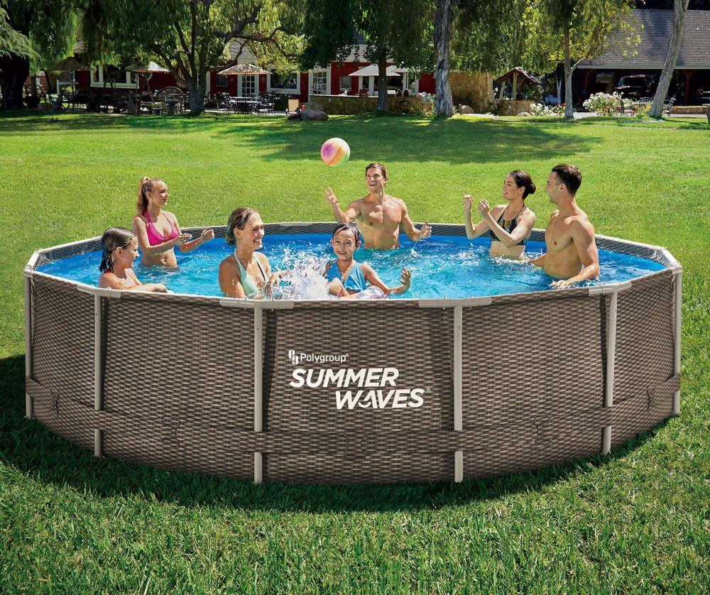 Summer Waves 14 X 36 Wicker Print Metal Frame Pool Big Lots In 2020 Summer Waves Pool Metal Pool