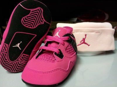 sports shoes f877f 26386 487219-601] Baby Infant Jordan 4 Retro Voltage Cherry Pink ...