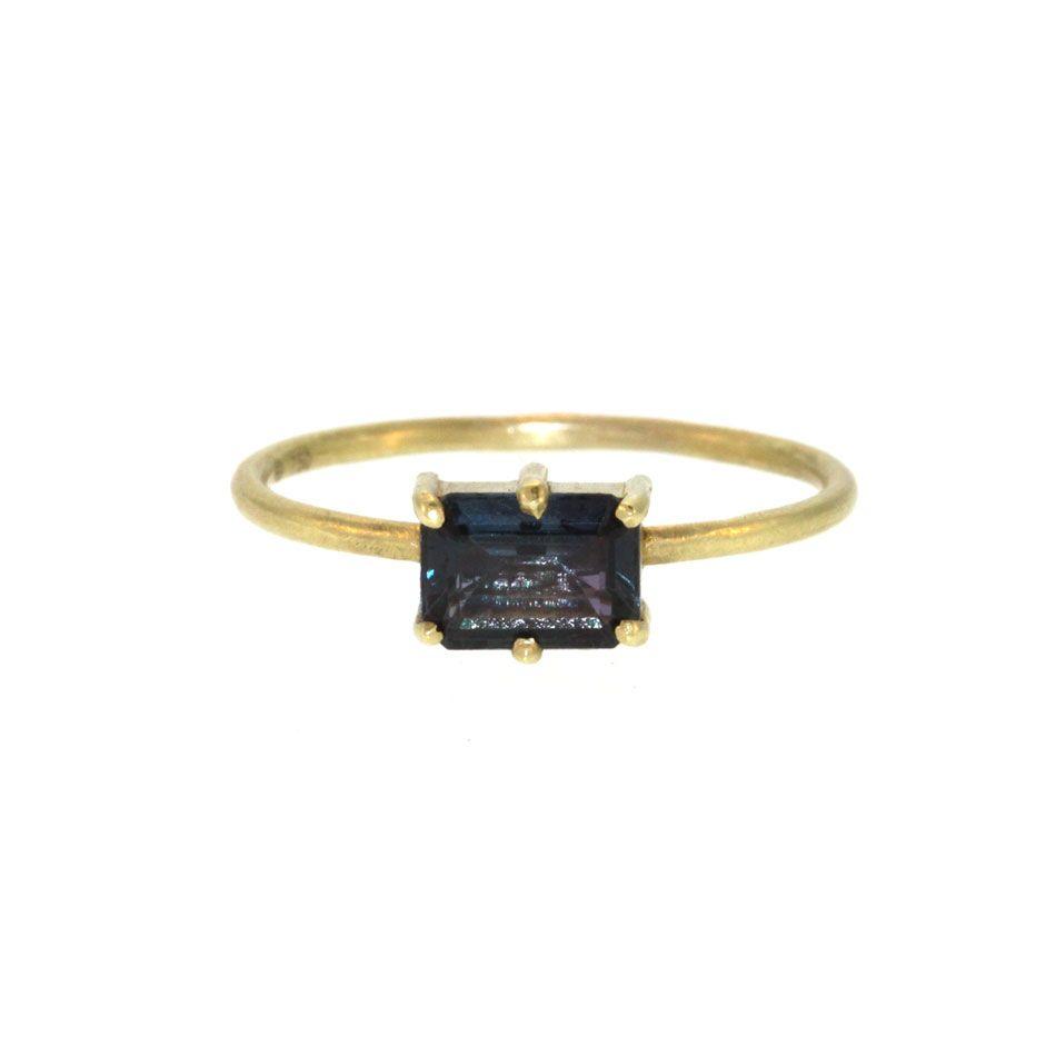 18K Gold Blue Tourmaline Rectangle Stacking Ring