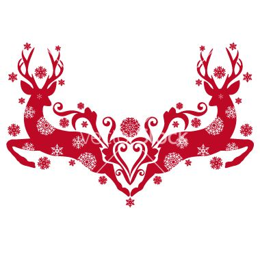 Christmas deers vector 1037501  by amourfou on VectorStock