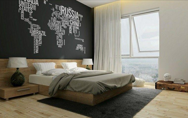 pared con el mapa del mundo en el dormitorio moderno diseño de
