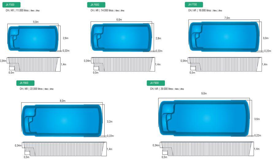 medidas piscina fibra pesquisa google piscinas e spa