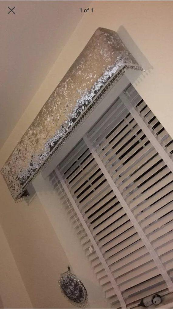 Handmade Curtain Pelmet Silver Crushed Velvet By