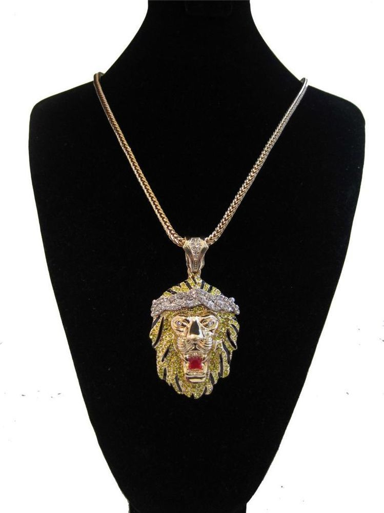 a51e8ce47037f ICED OUT BIG SEAN LION KING PENDANT GOLD FRANCO CHAIN NECKLACE HIP ...