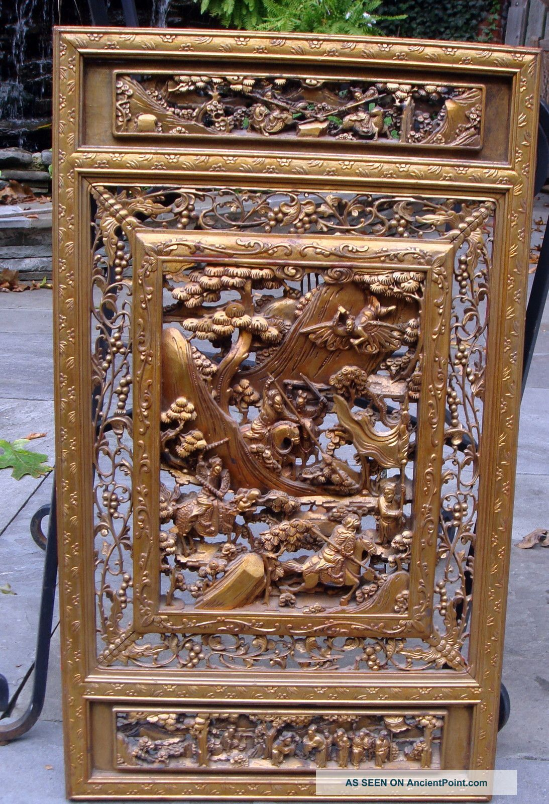 Chinese Carved Wooden Panels Wood Frame Warrior Battle Temple Panel Other Photo