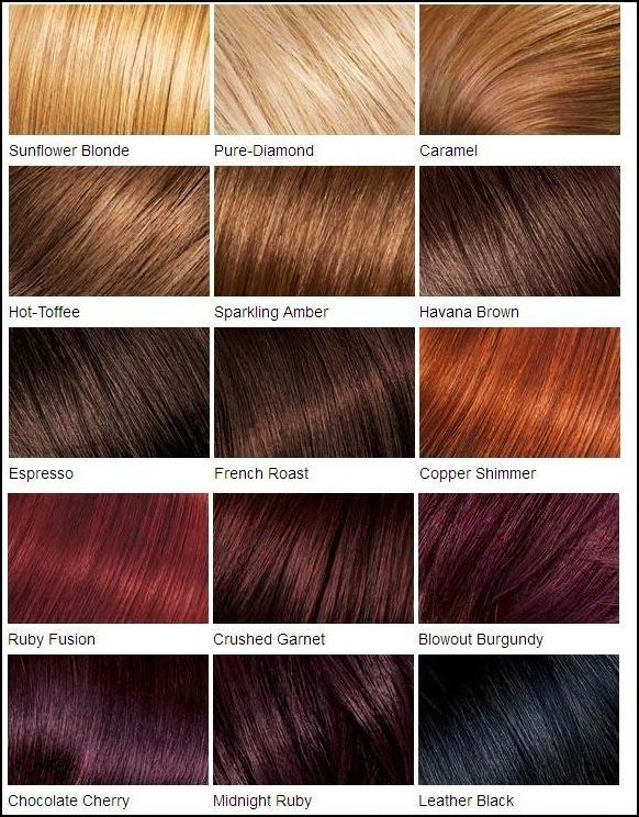 Loreal Color Chart Different Blonde Brown Red Dark Hair Color