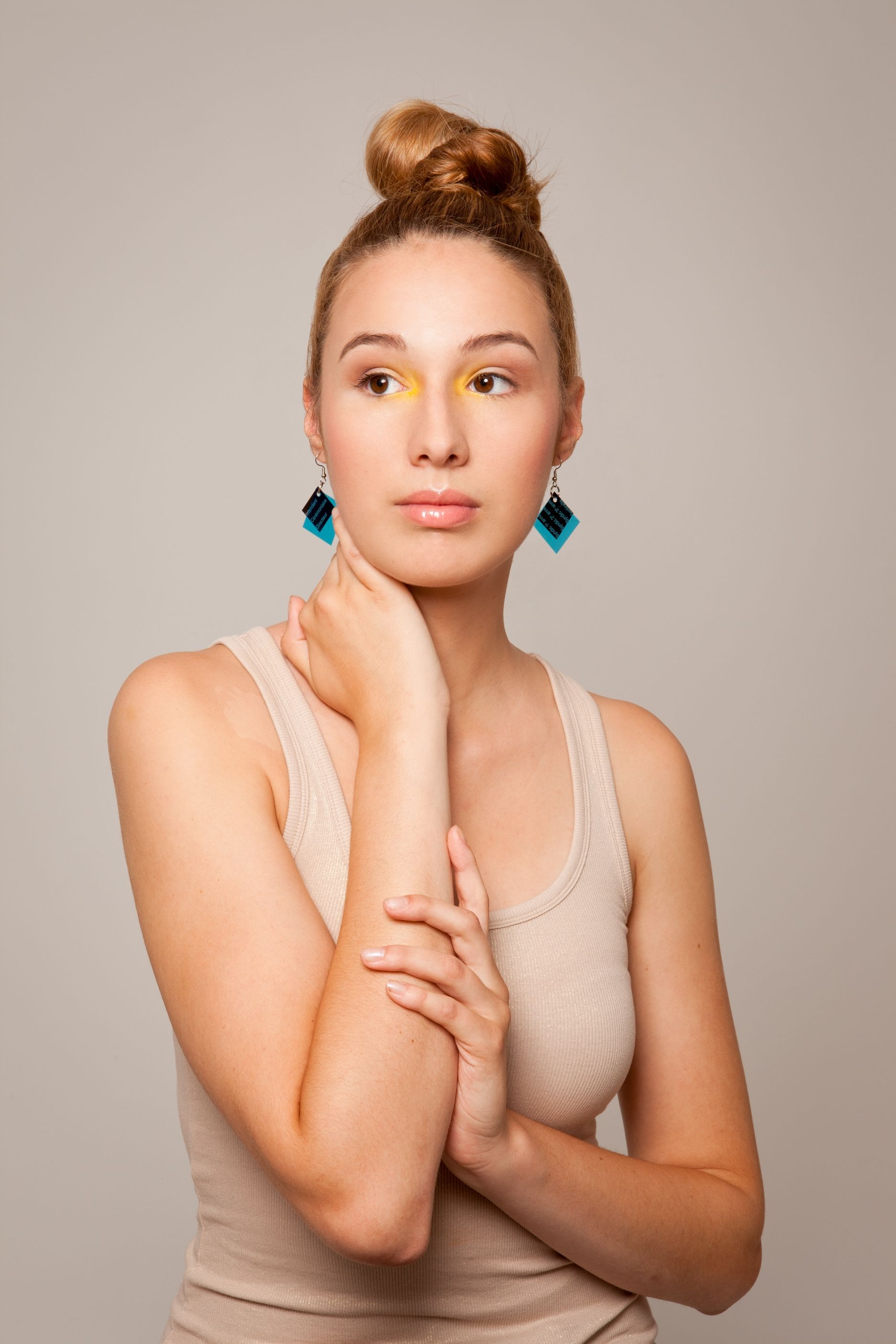 Image result for simple looks with colour block earring
