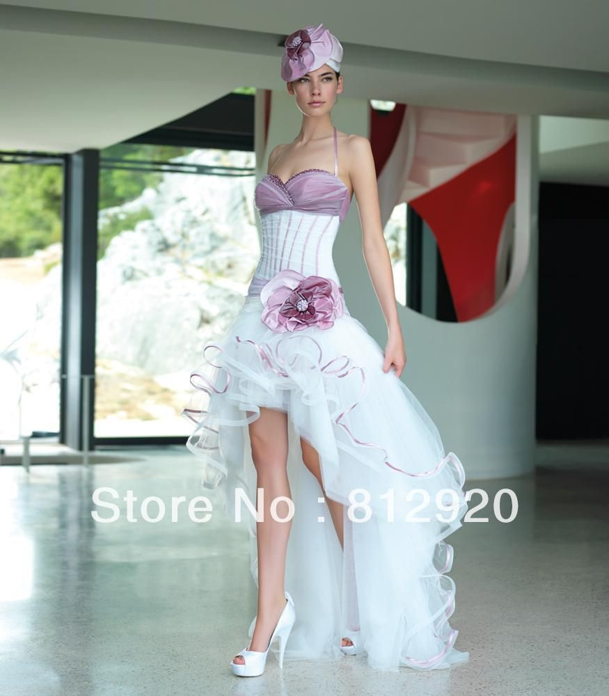 Halter Taffeta And Tulle Short Front Long Back Corset High Low Purple White Bridal Wedding
