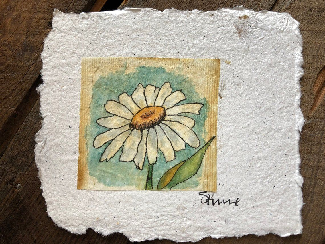 Daisy Flower Teabag Painting Watercolor Etsy In 2020 Tea Bag