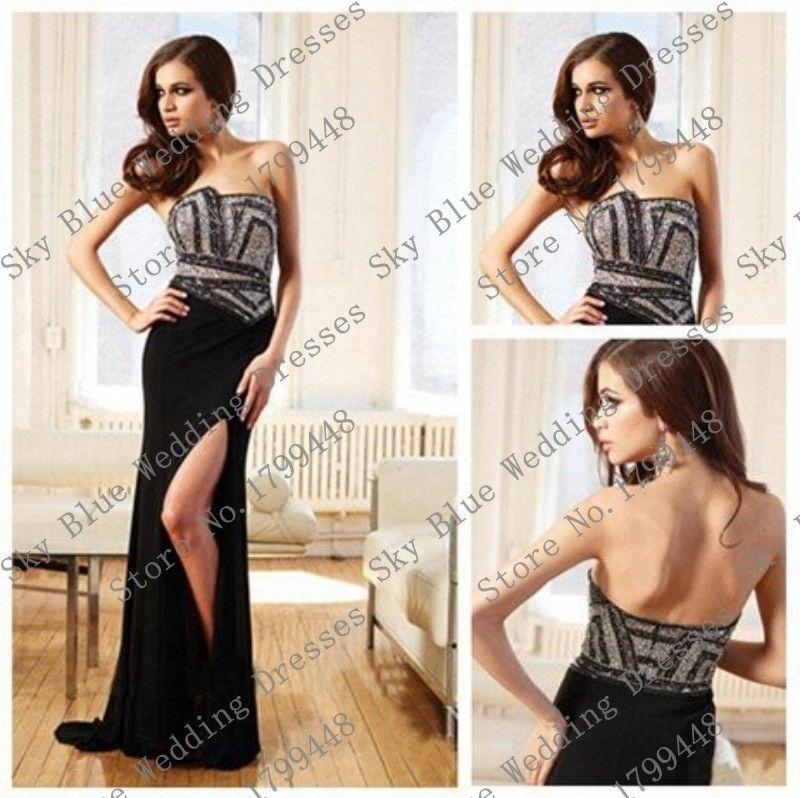 Elegant Backless Custom made prom dresses with rhinestone 2015 Black Sheath Side Split Chiffon Floor Length Evening Party Gowns