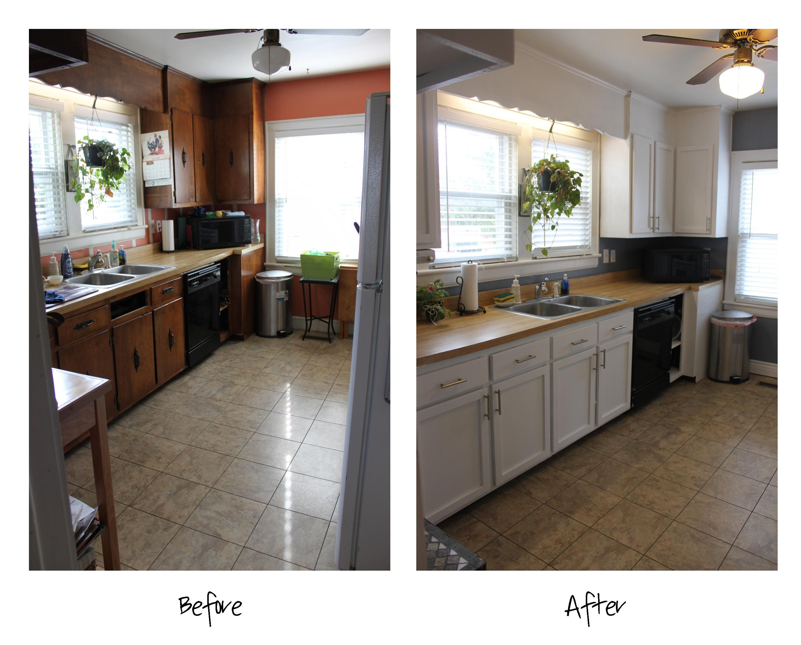 Storm Cloud by Sherwin Williams paint. Kitchen before and