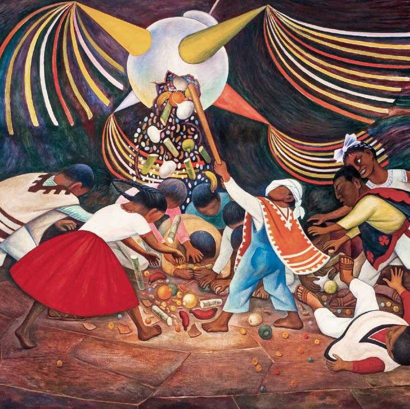 La Pinata Mural Diego Rivera Navidad Mexicana