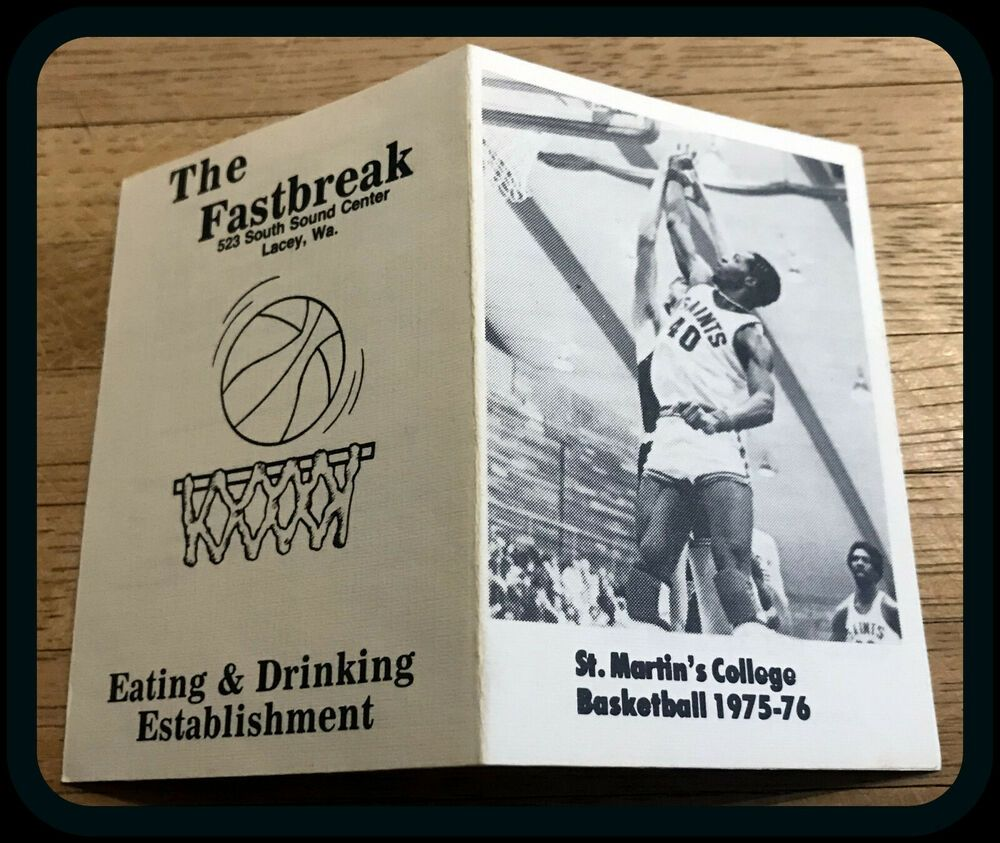 1975 76 St Martins College Mens Baskeball Pocket Schedule Pocket