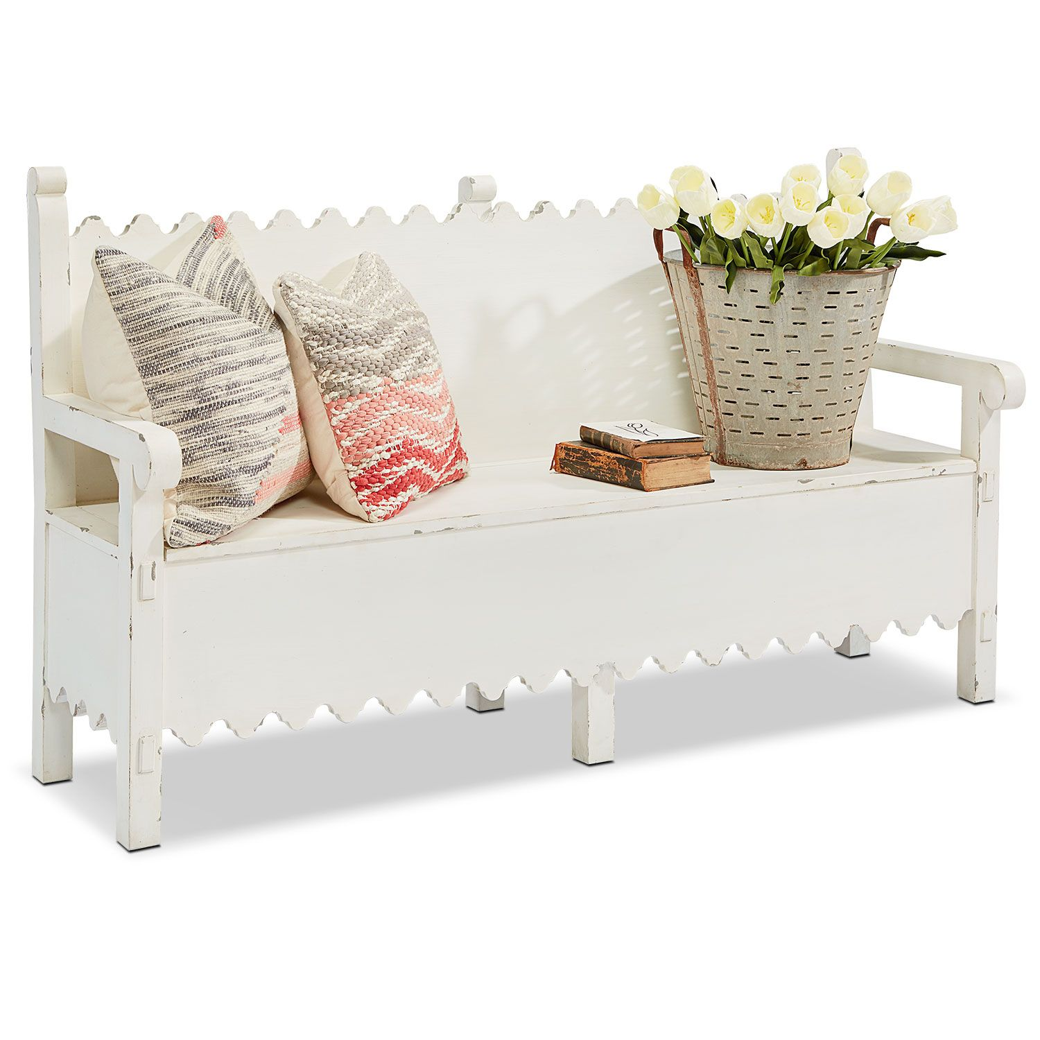 End of hallway storage  Vintage cottage features give our Scalloped Bench a charming style