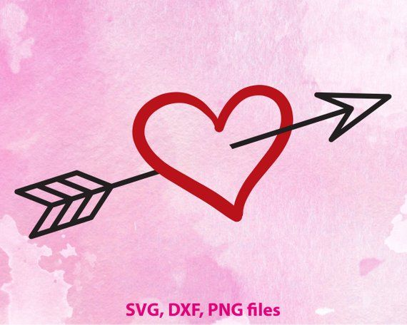 Heart with arrow svg dxf files valentine svg heart files for