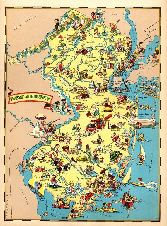 1930 S Vintage New Jersey Picture Map State Cartoon Map Print
