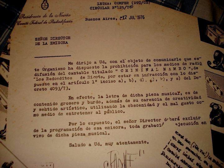 Prohibición del COMFER a una canción de Los Redondos (1976)