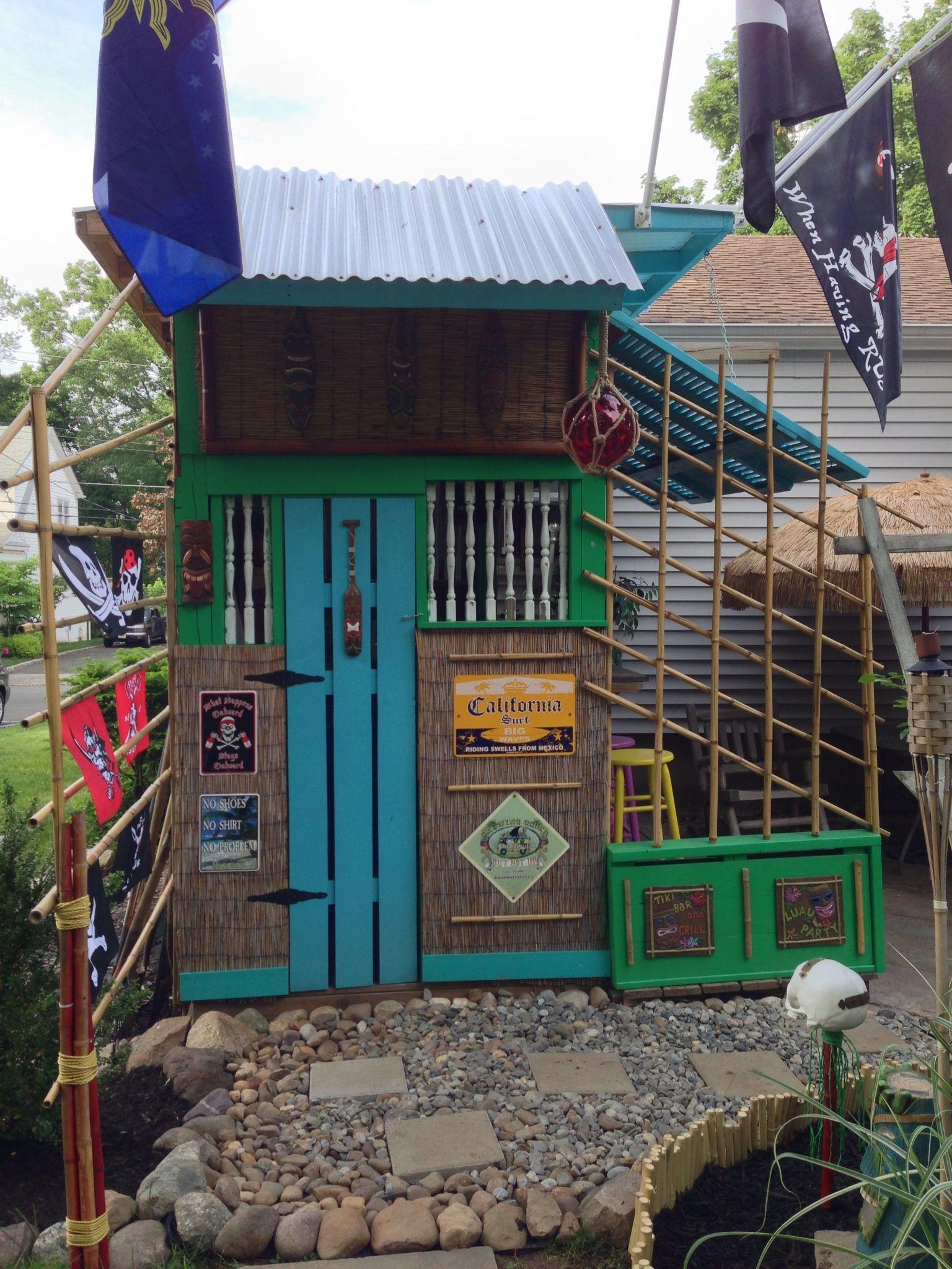 Backyard Tiki Bar! | Garden bar shed, Outdoor woodworking ...