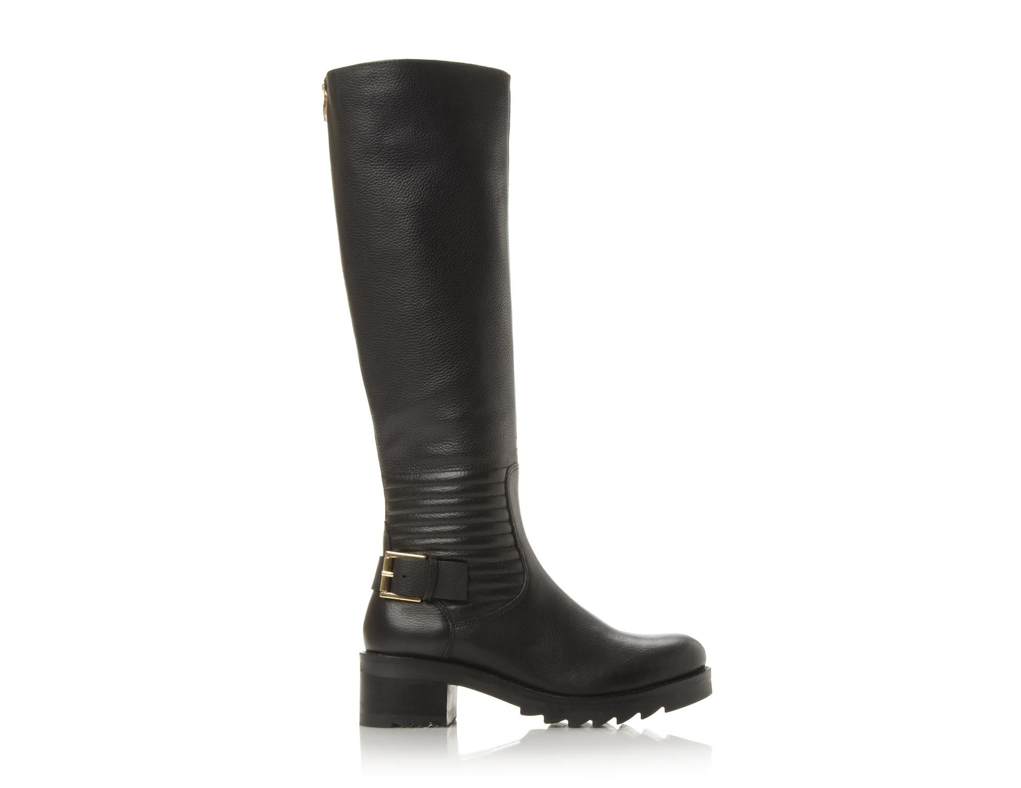 DUNE LADIES VIENNA Quilted Leather Knee High Boot black