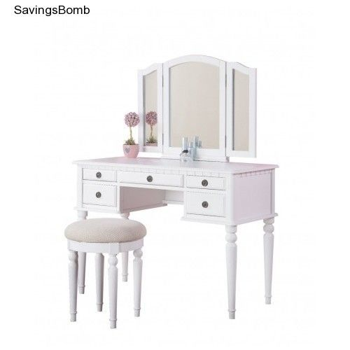white vanity table with mirror and bench. Little Girls Childs Childrens White Vanity Set Makeup Desk With Stool  Mirror BobKona