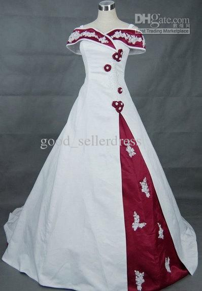 line Red And White Wedding Dresses Chathdral Embroidery Ball Gown ...