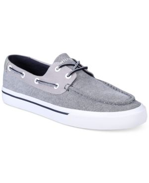 aa0f660c9ba21 Tommy Hilfiger Men s Pharis Canvas Boat Shoes - Gray 10.5