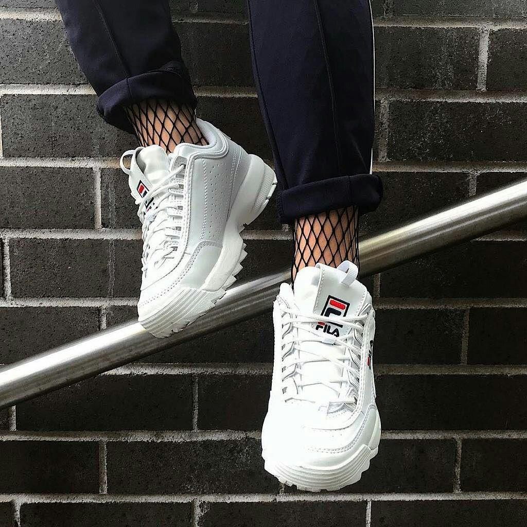 pinterest /// @kjvohgue | Shoes | Fila white shoes, Sneakers ...