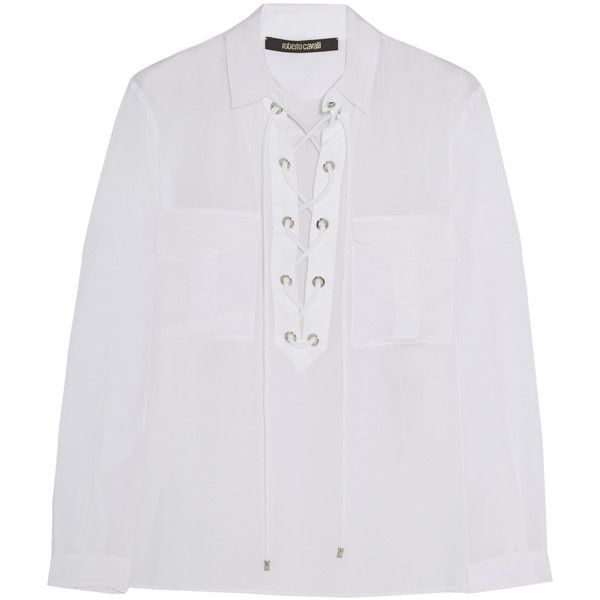 Roberto Cavalli Twill-trimmed lace-up silk shirt (395.950 CLP) ❤ liked on Polyvore featuring tops, blouses, shirts, white top, white silk shirt, silk blouses, lace-up tops and lace up blouse