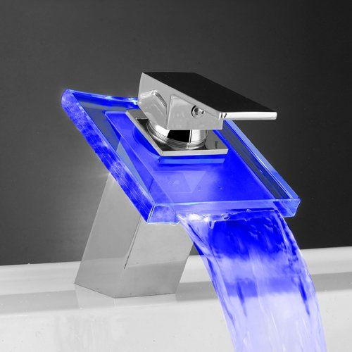 Led Chrome Waterfall Faucet Led Faucet Modern Bathroom Faucets Faucet