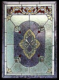 Exquisite bathroom stained glass window panel. www.treasuresoflight.com