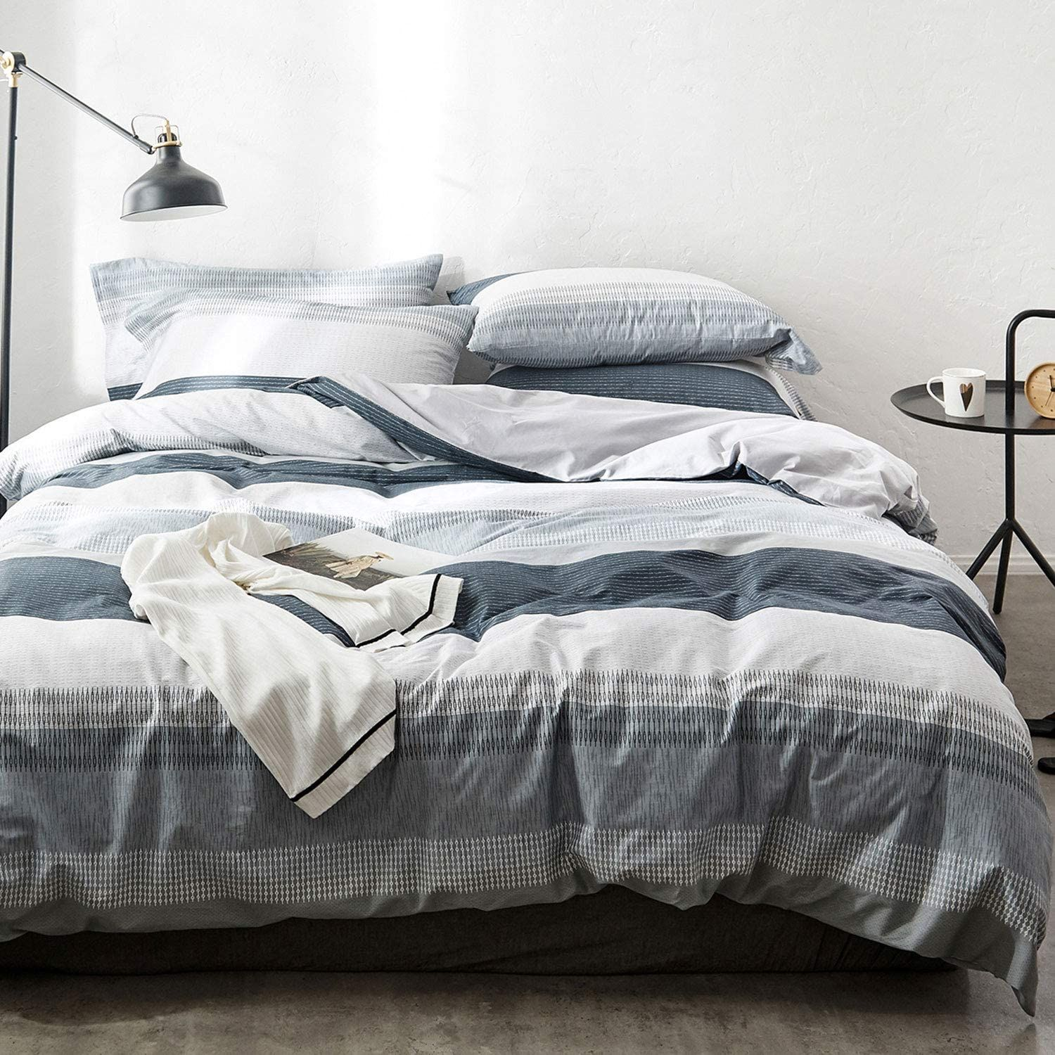 Oreise Duvet Cover Set Full Queen Size 100 Cotton Bedding Set Gray Blue White Printed Striped S Bedding Sets Grey Cotton Bedding Sets Duvet Cover Sets