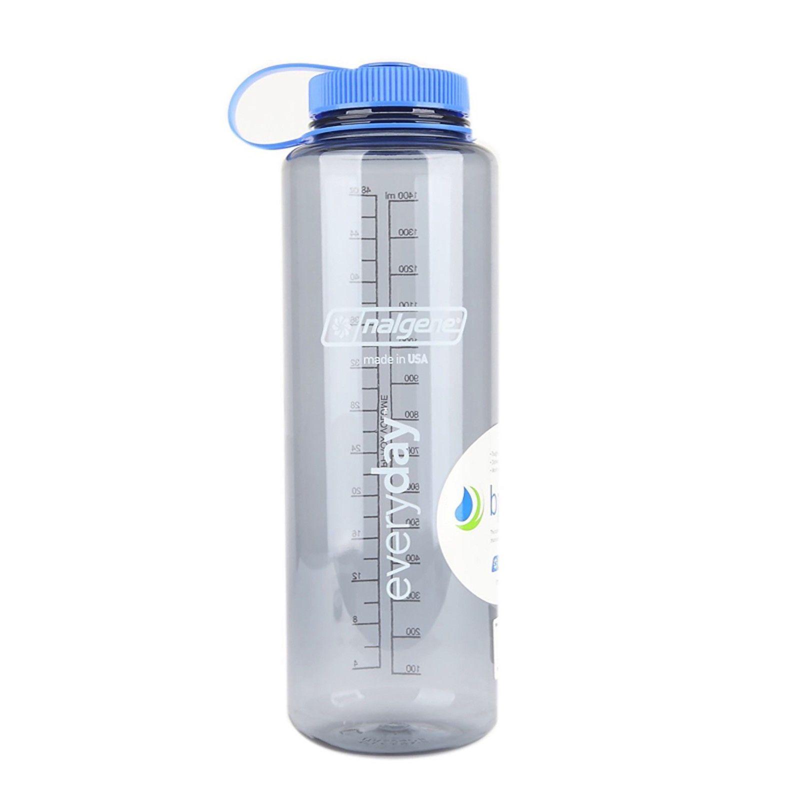 48 oz Nalgene Silo Tritan Wide Mouth Water Bottle Gray//Blue