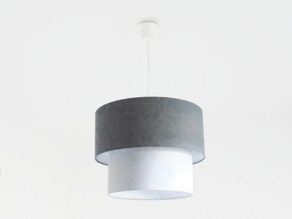 hanging double shade grey anthracite + grey cylindrical ceiling