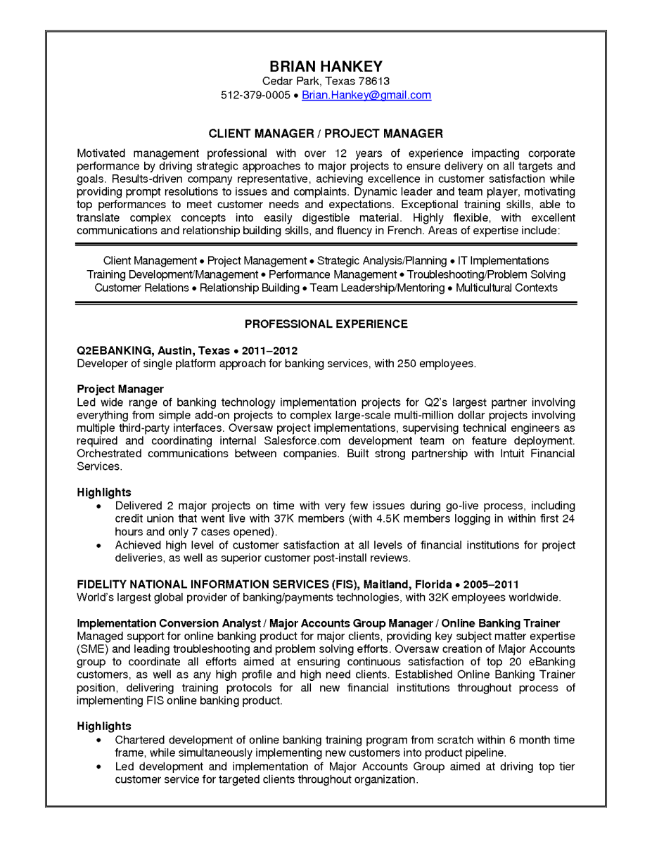 11 client project manager resume