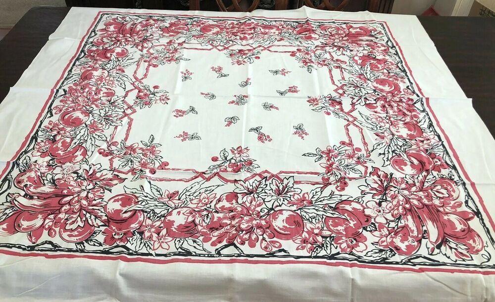 Vintage Mid Century Printed Table Cloth Nashua Fushia