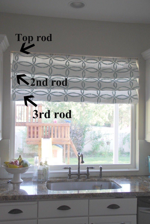 Roman Curtain Window Coverings Diy Kitchen Window Treatments