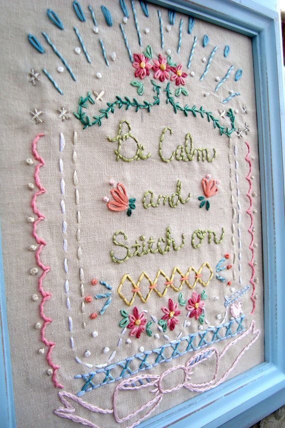Be Calm and Stitch on  Embroidery pdf Pattern Sampler