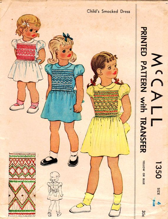 1940s McCall 1350 Vintage Sewing Pattern Girls by midvalecottage ...