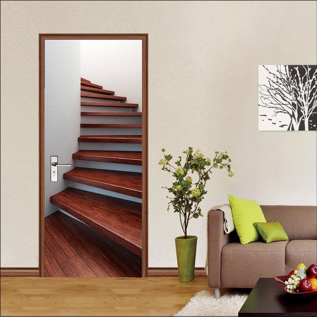 Best 3D Red Stairs Door Mural Door Murals Wall Decor Decor 640 x 480