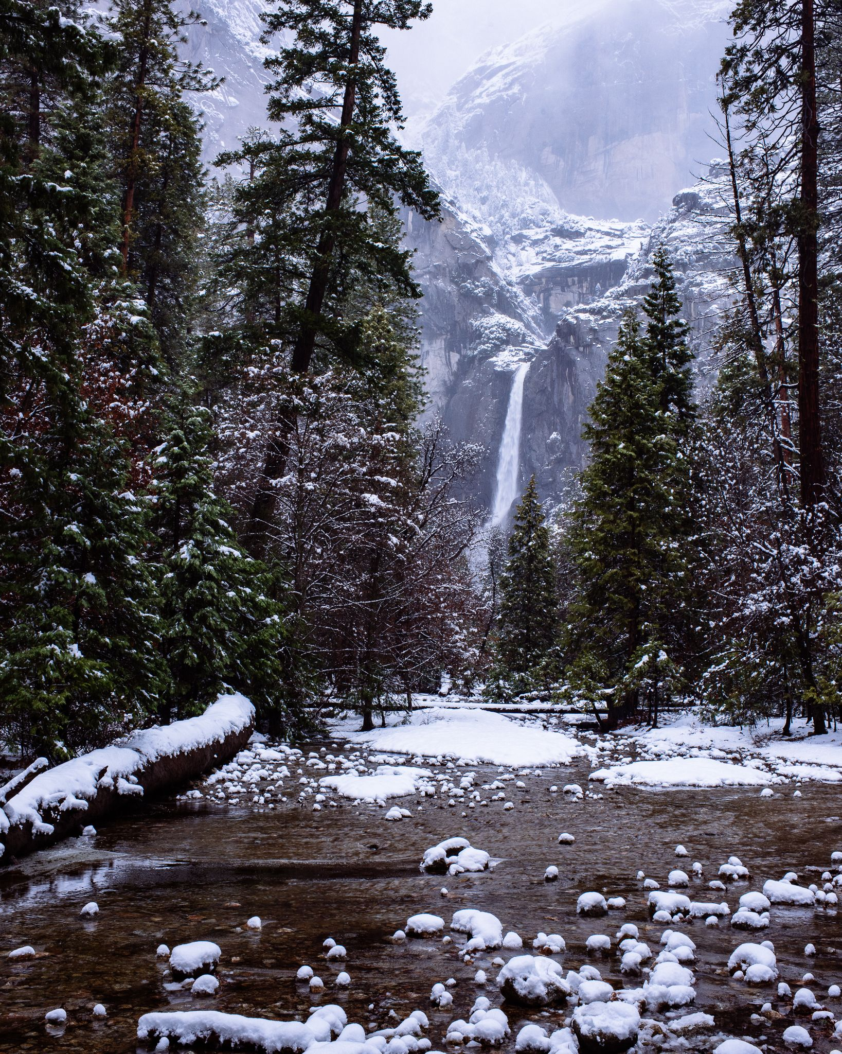 Yosemite creek and Lower Yosemite Falls from this past