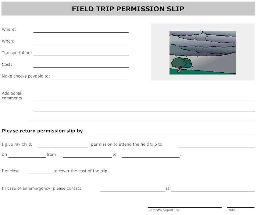 Field Trip Permission Forms  Field Trip Permission Form Landscape
