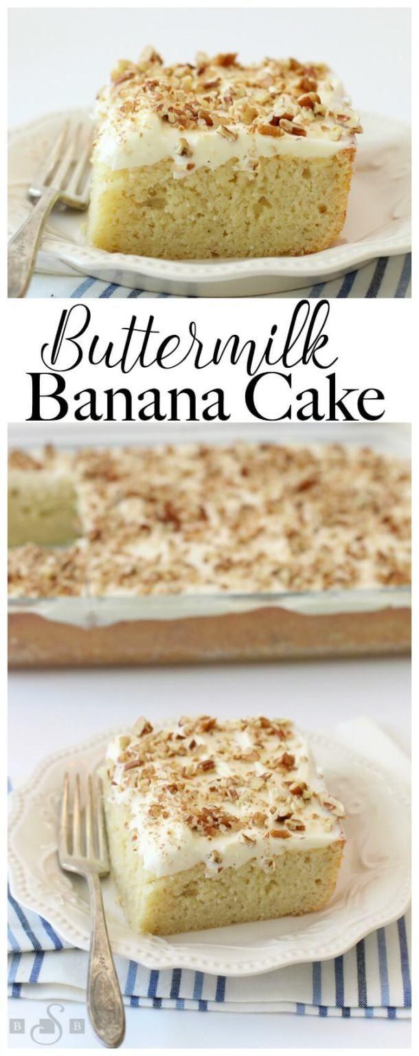 Buttermilk Banana Cake With Cream Cheese Frosting Banana Cake Recipe Banana Cake Cake Recipes