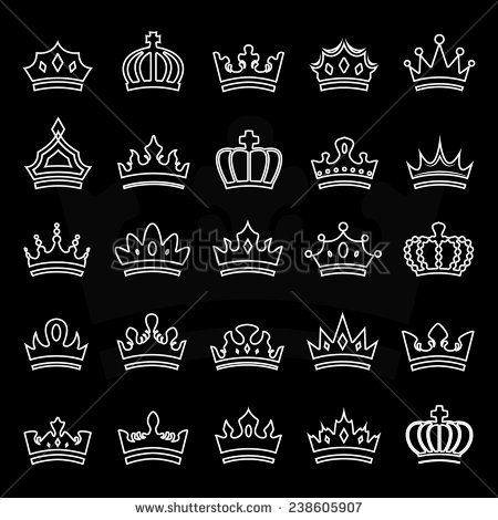 Crown Icons Set Isolated On Black Background Vector