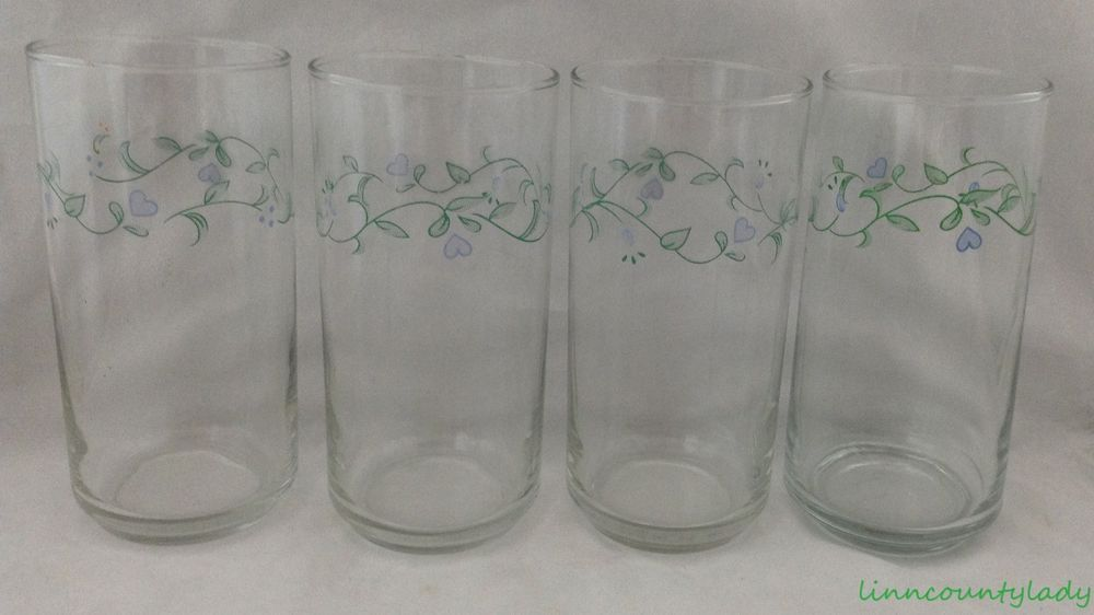 4 Corelle Country Cottage Tumblers Glasses Coolers Green Vine Blue